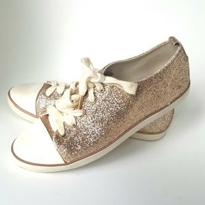 Rose Gold Glitter Sneaker Shoe 8 H&M Athletic Lace